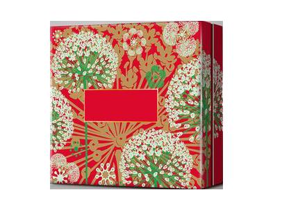 красная коробка с цветочным принтом
