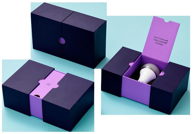 сиреневые коробки с лампочками